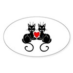 Black Cat Love Sticker (Oval 10 pk)