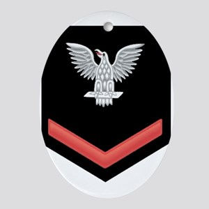 Petty Officer Third Class Red Oval Ornament