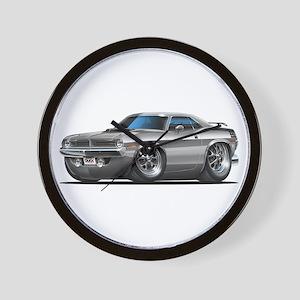 1970 Cuda Silver Car Wall Clock