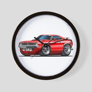 1970 Cuda Red Car Wall Clock