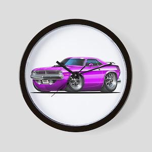 1970 Cuda Purple Car Wall Clock