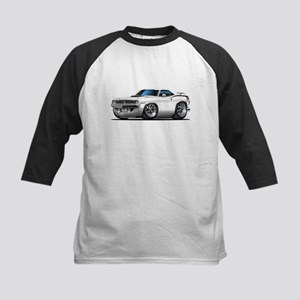1970 Cuda White Car Kids Baseball Jersey