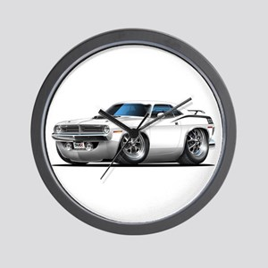 1970 Cuda White Car Wall Clock