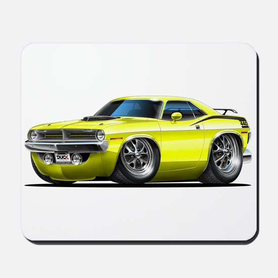 1970 Cuda Yellow Car Mousepad