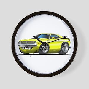 1970 Cuda Yellow Car Wall Clock