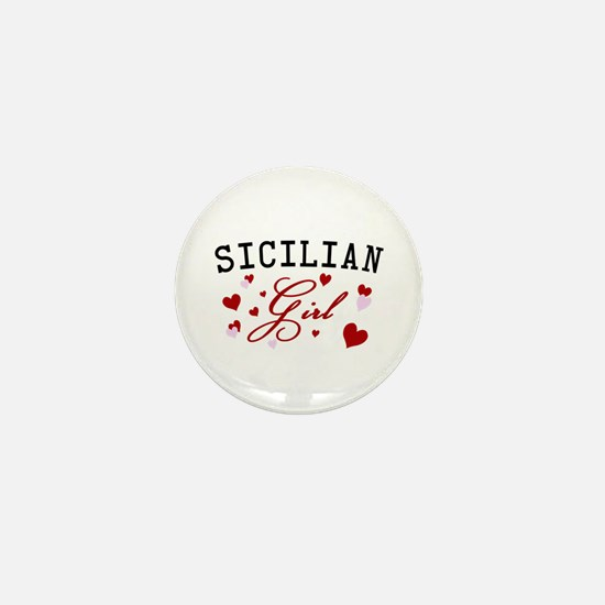 Sicilian Girl Hearts Mini Button