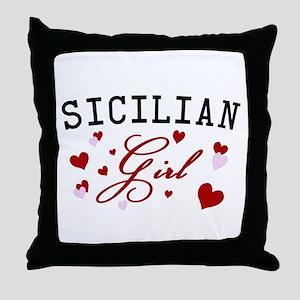 Sicilian Girl Hearts Throw Pillow
