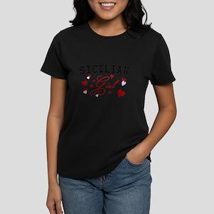 Sicilian Girl Hearts Women's Dark T-Shirt