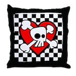 Emo Cartoon Skull Checkers Throw Pillow