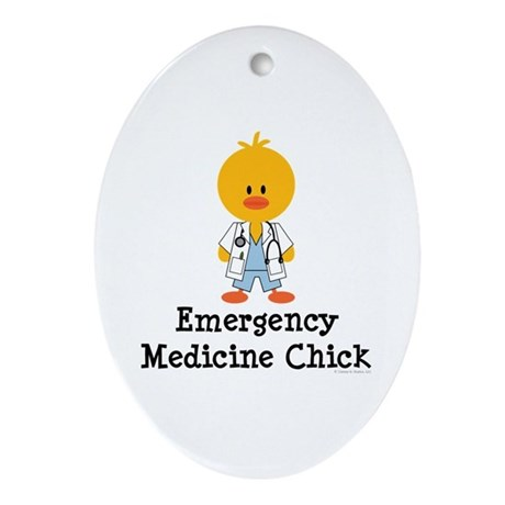 Emergency Medicine Chick Oval Ornament