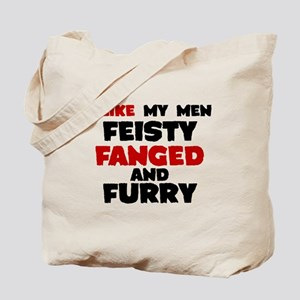 Feisty fanged furry Tote Bag