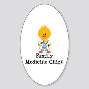 Family Medicine Chick Oval Sticker