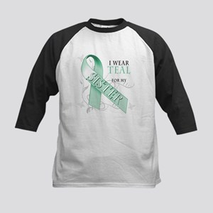 I Wear Teal for my Sister Kids Baseball Jersey