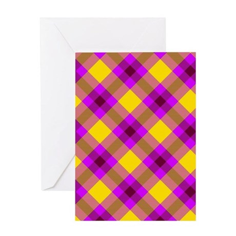 Purple and Yellow Crosshatch Tartan Greeting Cards