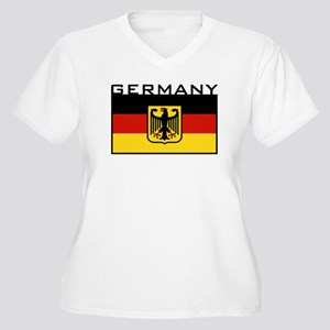 German Flag Women's Plus Size V-Neck T-Shirt