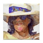 Woman in Hat Tile Coaster