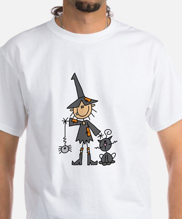 Witch and Cat White T-Shirt