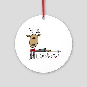 Dasher Reindeer Ornament (Round)
