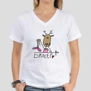 Dancer Reindeer Women's V-Neck T-Shirt
