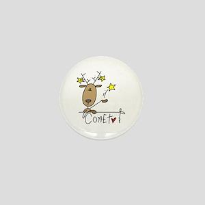 Comet Reindeer Mini Button