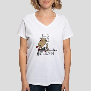 Blitzen Reindeer Women's V-Neck T-Shirt