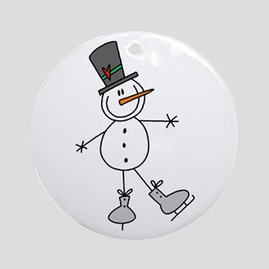 Ice Skating Snowman Ornament (Round)