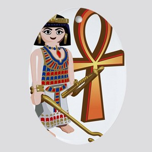 ankh toy egyptian desing Oval Ornament