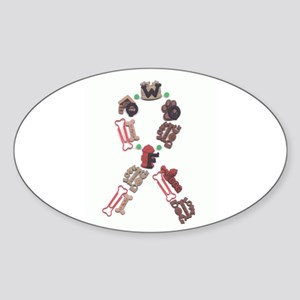 Woof Ribbon Oval Sticker