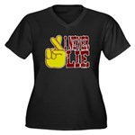 Lie Women's Plus Size V-Neck Dark T-Shirt
