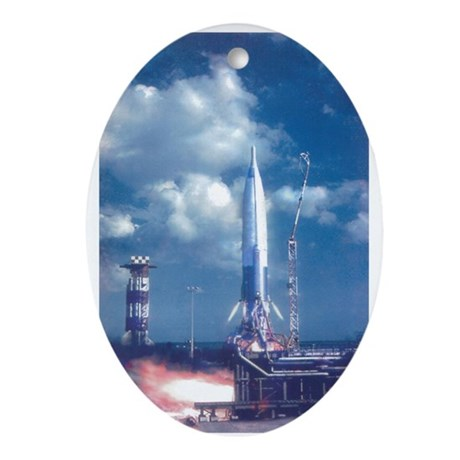 Liftoff! Rockets In Space Oval Ornament