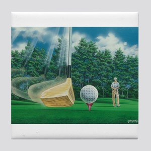 Fore! Golf Swing In Motion Tile Coaster