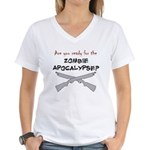 Are you ready for the zombie Women's V-Neck T-Shir