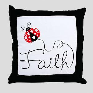 Ladybug Faith Throw Pillow