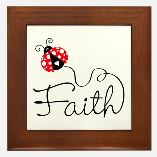 Ladybug Faith Framed Tile