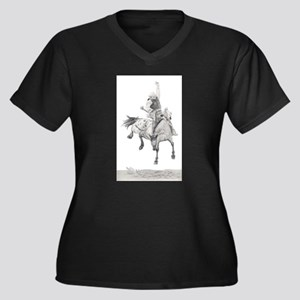 Saddle Bronc Women's Plus Size V-Neck Dark T-Shirt
