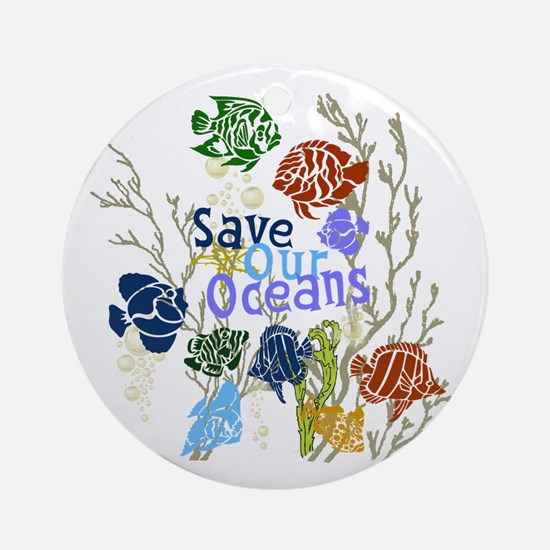 Save the Oceans Ornament (Round)