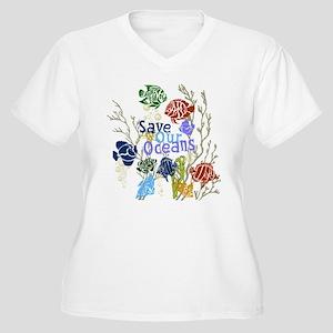 Save the Oceans Women's Plus Size V-Neck T-Shirt