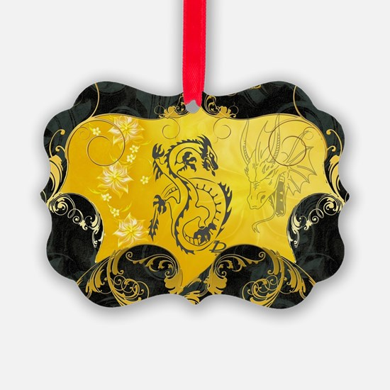 Beautiful chines dragon on vintage background Orna