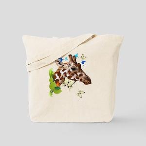 GIRAFFE and BUTTERFLIES Tote Bag