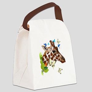 GIRAFFE and BUTTERFLIES Canvas Lunch Bag