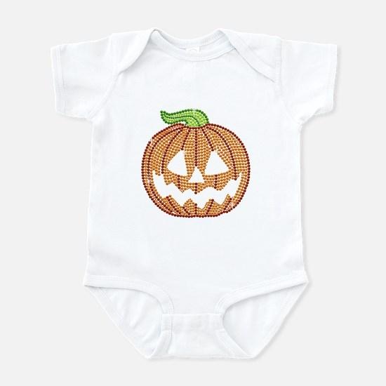 Printed Rhinestone Jackolantern Infant Bodysuit