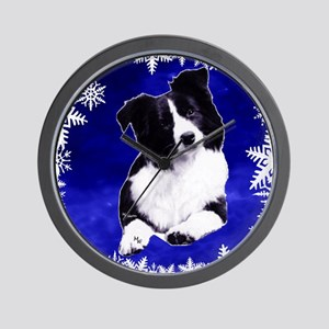 border collie holiday designs Wall Clock
