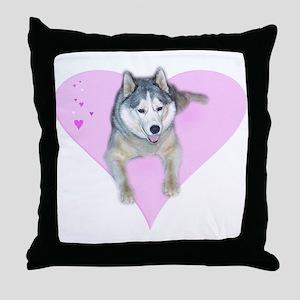 Heart Husky Throw Pillow