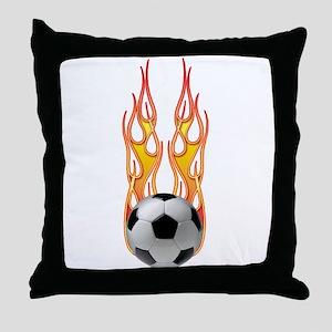 Soccer fire Throw Pillow