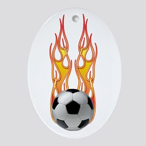 Soccer fire Oval Ornament