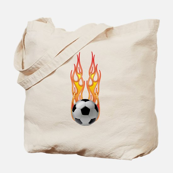 Soccer fire Tote Bag