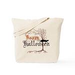 Happy Halloween Reusable Black Cat Tote Bag