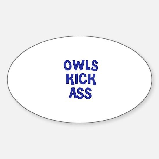 Owls Kick Ass Oval Decal