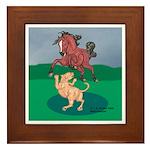 Mustang Horse & cougar Framed Tile