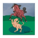 Mustang Horse & cougar Tile Coaster